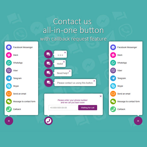 All in One Support Button Callback Request WhatsApp Messenger Telegram LiveChat and more