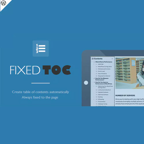 Fixed TOC table of contents for WordPress plugin