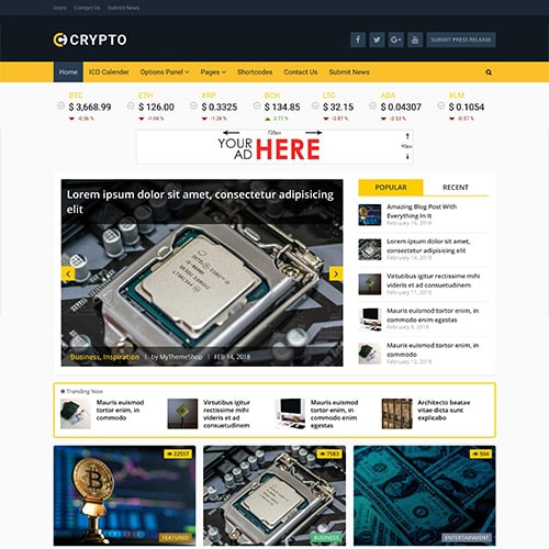 MyThemeShop Crypto Bitcoin Cryptocurrency WordPress Theme
