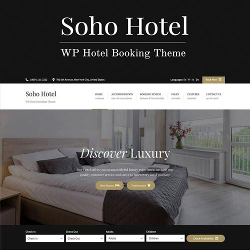 Soho Hotel Booking Hotel WordPress Theme