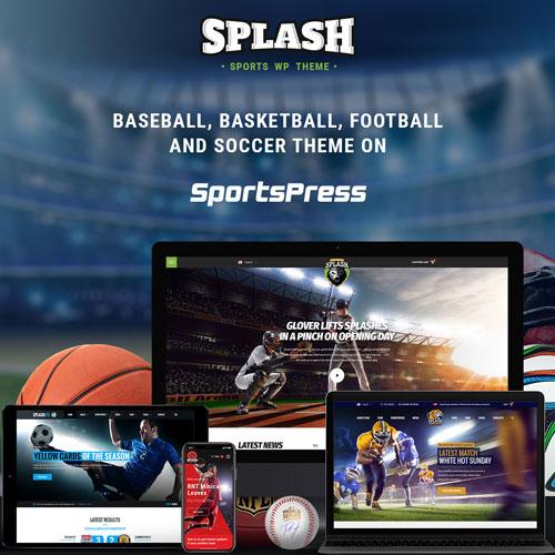 Splash Sport WordPress Sports Theme for Basketball Football Soccer and Baseball Clubs