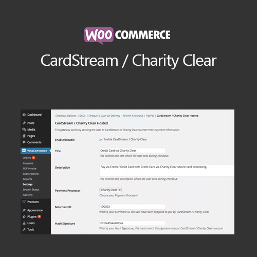 WooCommerce CardStream Charity Clear