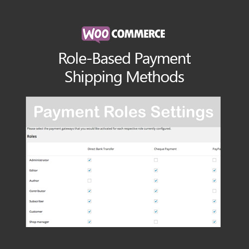 WooCommerce Role Based Payment Shipping Methods